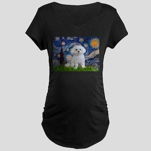 Starry Night / Maltese Maternity Dark T-Shirt