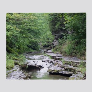 forest river scenery Throw Blanket