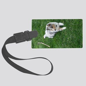Blue Merle Collie Puppy Large Luggage Tag