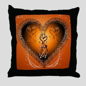 Cute couple giraffe in a heart Throw Pillow