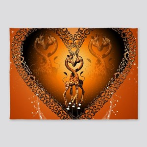 Cute couple giraffe in a heart 5'x7'Area Rug