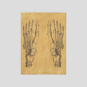 Vintage Foot Bones 5'x7'Area Rug