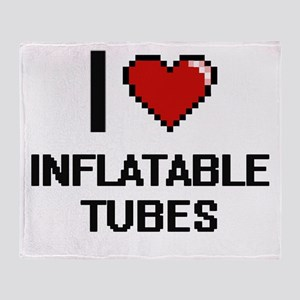 I Love Inflatable Tubes Throw Blanket