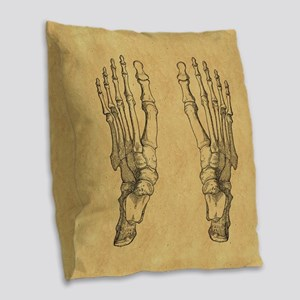 Vintage Foot Bones Burlap Throw Pillow