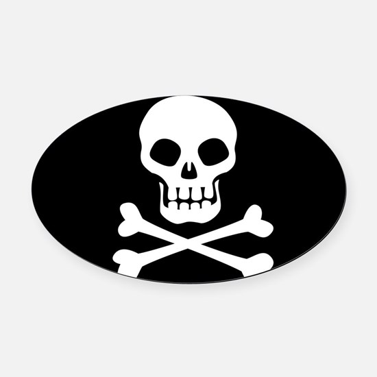 Pirate Flag Skull And Crossbones Oval Car Magnet