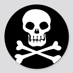 Pirate Flag Skull And Crossbones Round Car Magnet
