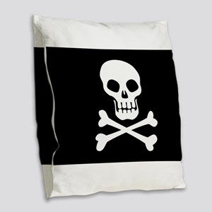 Pirate Flag Skull And Crossbones Burlap Throw Pill