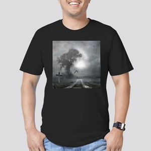 Bat Grave Night Men's Fitted T-Shirt (dark)