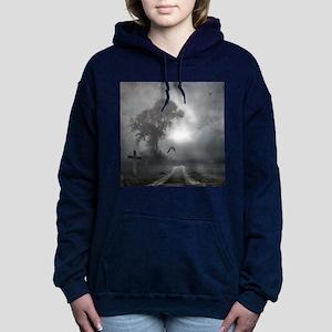 Bat Grave Night Women's Hooded Sweatshirt