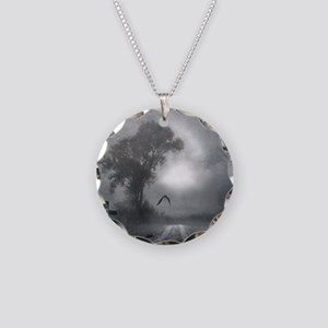 Bat Grave Night Necklace Circle Charm