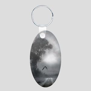 Bat Grave Night Aluminum Oval Keychain