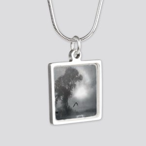 Bat Grave Night Silver Square Necklace