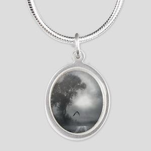 Bat Grave Night Silver Oval Necklace