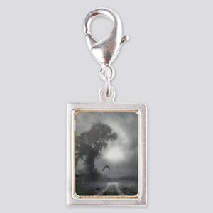 Bat Grave Night Silver Portrait Charm