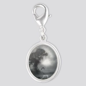 Bat Grave Night Silver Oval Charm