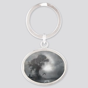 Bat Grave Night Oval Keychain
