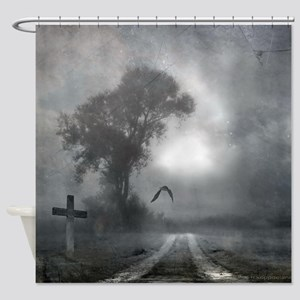 Bat Grave Night Shower Curtain