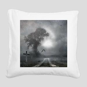 Bat Grave Night Square Canvas Pillow