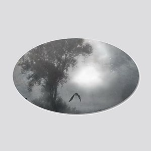 Bat Grave Night 20x12 Oval Wall Decal