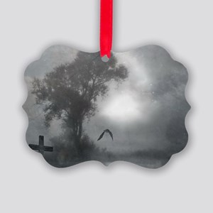 Bat Grave Night Picture Ornament