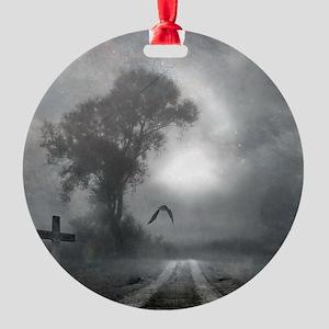 Bat Grave Night Round Ornament