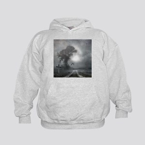 Bat Grave Night Kids Hoodie
