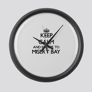 Keep calm and escape to Misery Ba Large Wall Clock