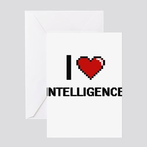 I Love Intelligence Greeting Cards