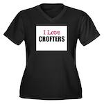 I Love CROFTERS Women's Plus Size V-Neck Dark T-Sh