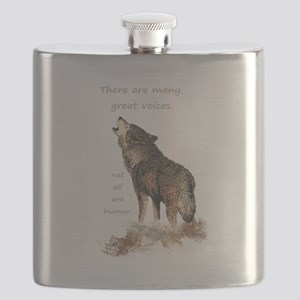 Many Great Voices Inspirational Wolf Quote Flask