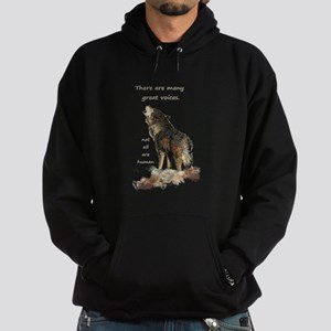 Many Great Voices Inspirational Wolf Quote Hoodie