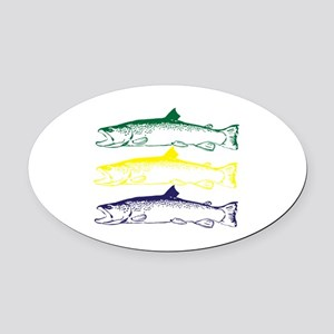 Trout Oval Car Magnet