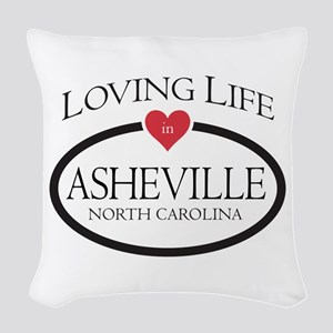 Loving Life In Asheville, Nc Woven Throw Pillow