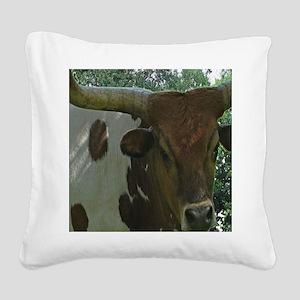 Texas Long Horn Bull Square Canvas Pillow