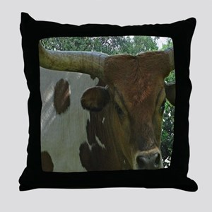 Texas Long Horn Bull Throw Pillow