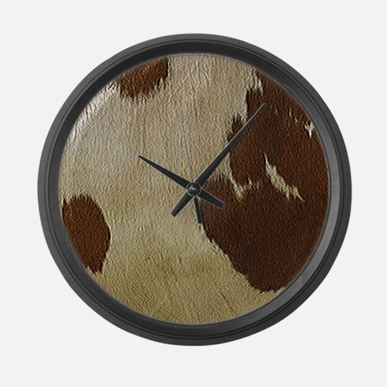 Cow Hide Large Wall Clock