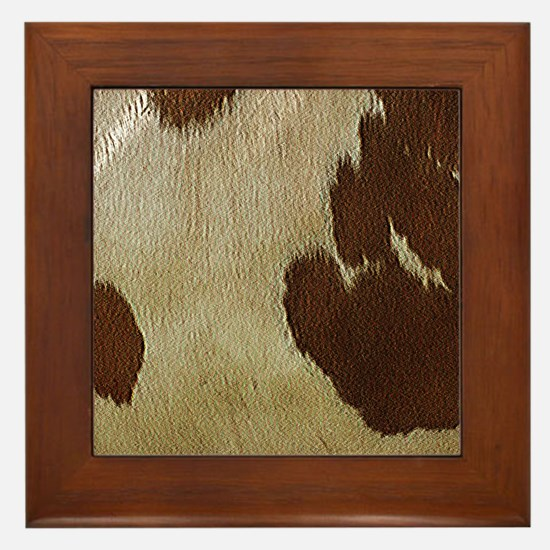 Cow Hide Framed Tile
