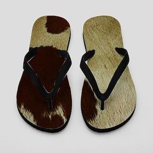 antique cow hide Flip Flops