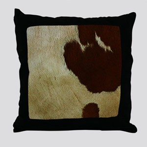 antique cow hide Throw Pillow