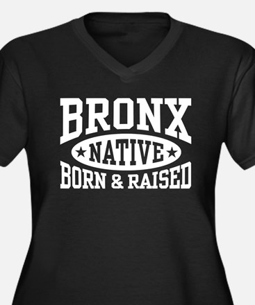 Bronx Native Women's Plus Size V-Neck Dark T-Shirt