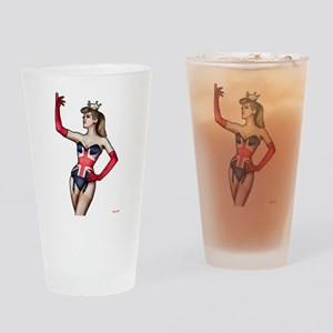 British Lady in Corset Drinking Glass