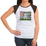 Lilies (2) & Maltese Women's Cap Sleeve T-Shirt