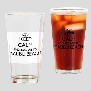 Keep calm and escape to Malibu Beac Drinking Glass