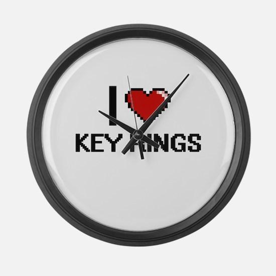 I Love Key Rings Large Wall Clock