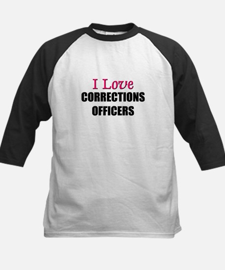 I Love CORRECTIONS OFFICERS Kids Baseball Jersey