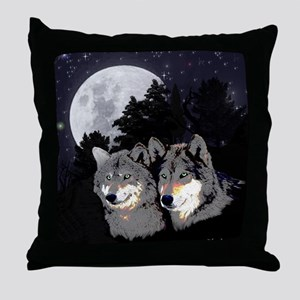 Rocky Mountain Wolves Throw Pillow