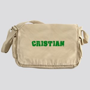 Cristian Name Weathered Green Design Messenger Bag