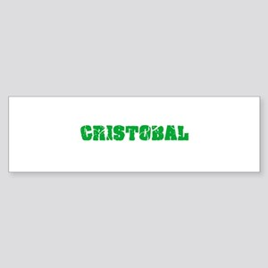 Cristobal Name Weathered Green Desi Bumper Sticker