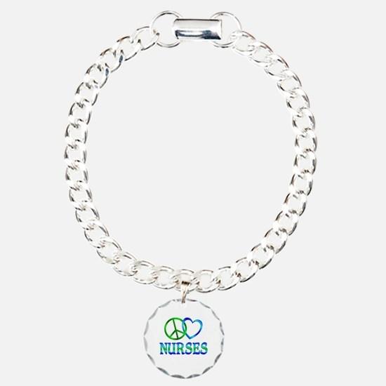 Peace Love Nurses Charm Bracelet, One Charm