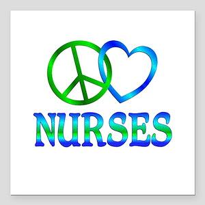 "Peace Love Nurses Square Car Magnet 3"" x 3"""